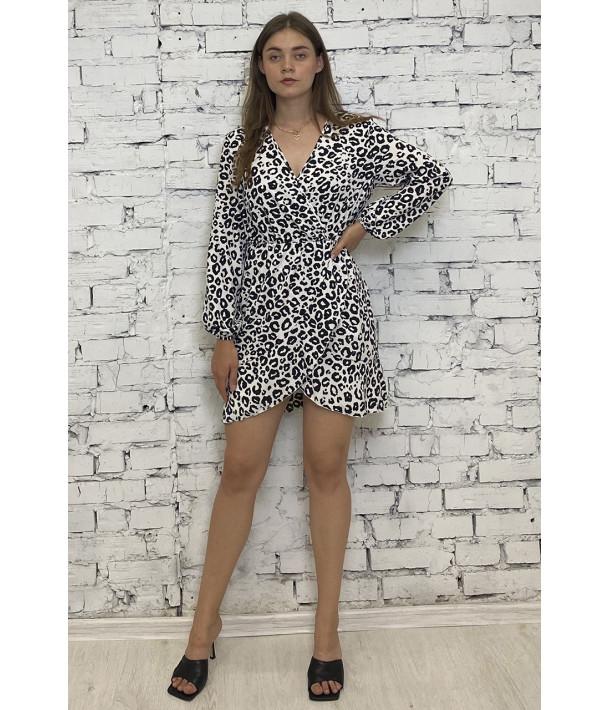 Міні сукня на запах з чорно-білим леопардовим принтом