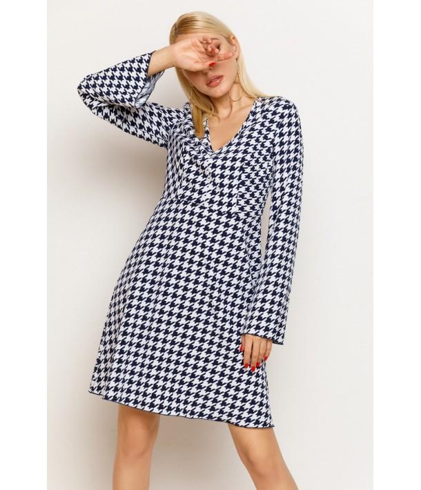 Міні сукня з принтом гусяча лапка