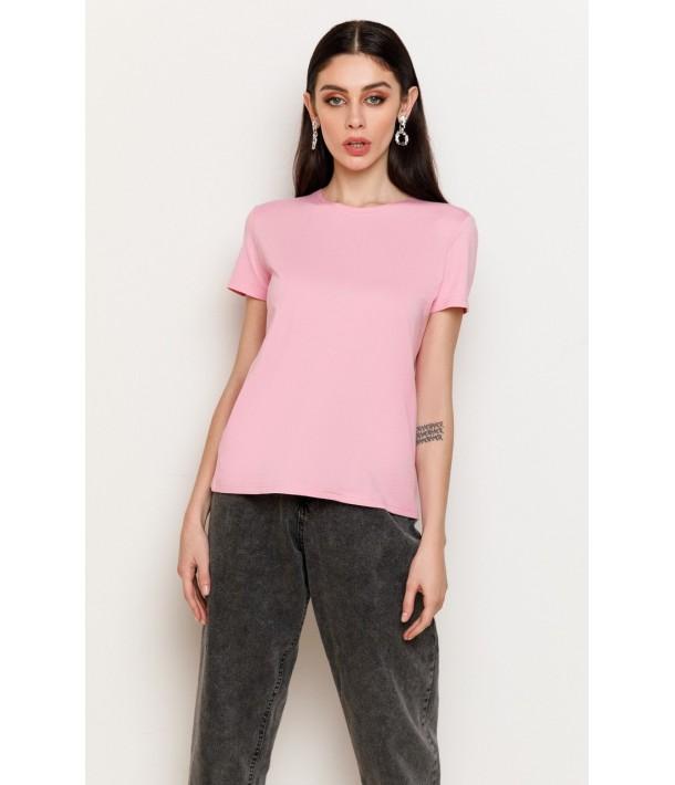 Рожева жіноча трикотажна футболка