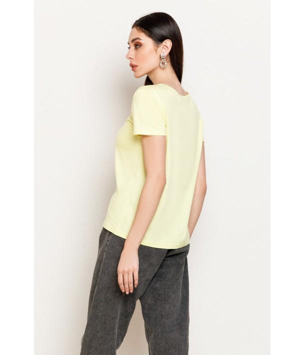 Желтая женская трикотажная футболка
