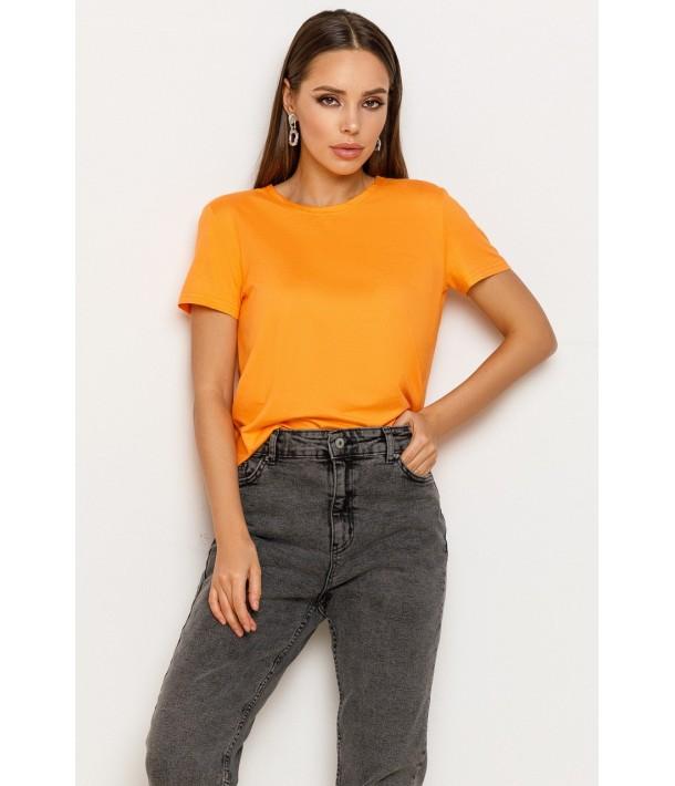 Оранжевая женская трикотажная футболка