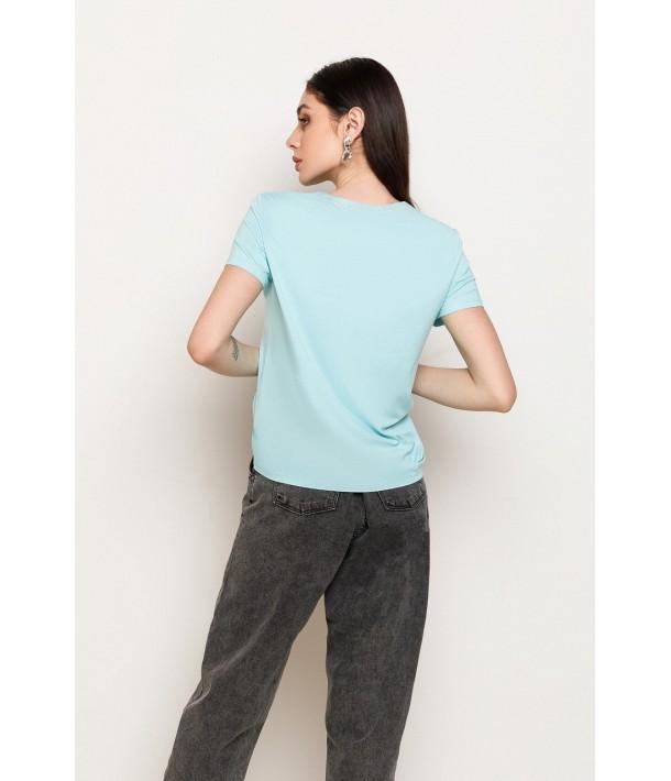 Бирюзовая женская трикотажная футболка