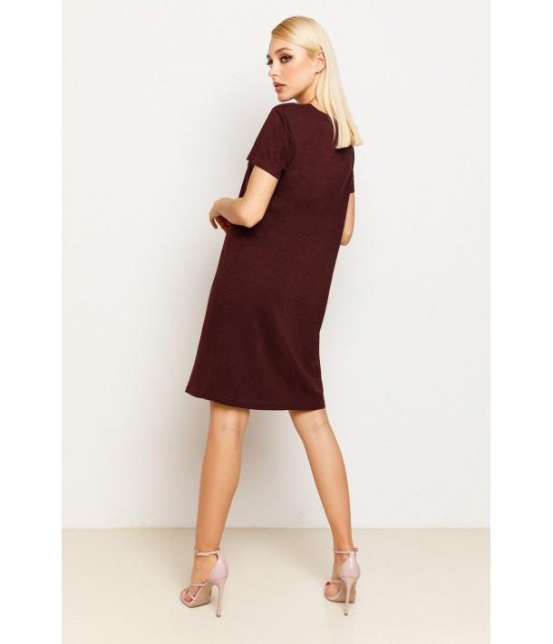 Бордовое женское трикотажное платье-футболка