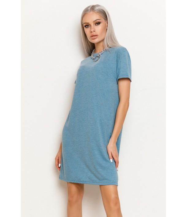 Небесное женское трикотажное платье-футболка