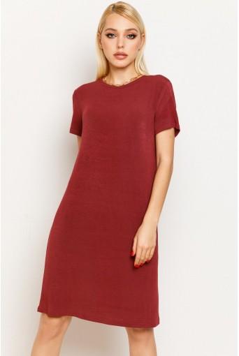 Гранатовое женское трикотажное платье-футболка