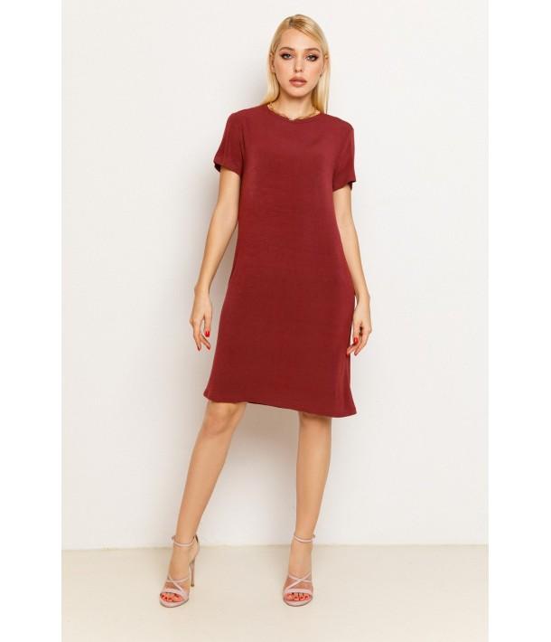 Гранатова жіноча трикотажна сукня-футболка