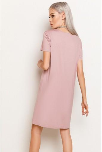 Фрезовое женское трикотажное платье-футболка
