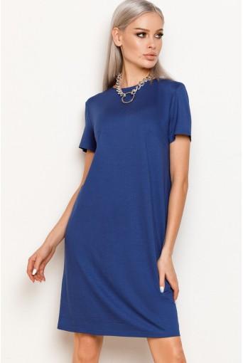 Синее женское трикотажное платье-футболка