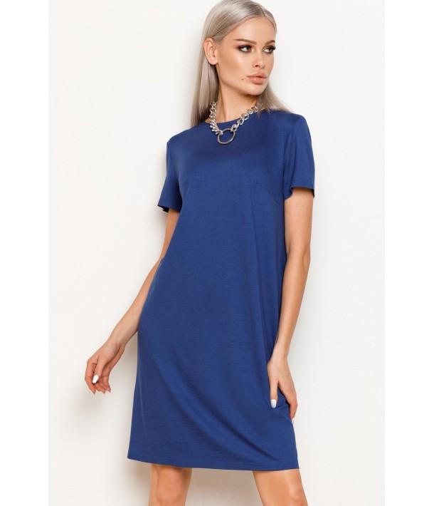 Синя жіноча трикотажна сукня-футболка