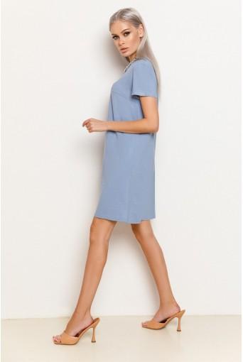 Сиреневое женское трикотажное платье-футболка