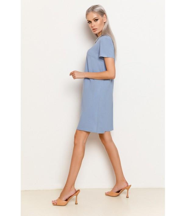 Бузкова жіноча трикотажна сукня-футболка