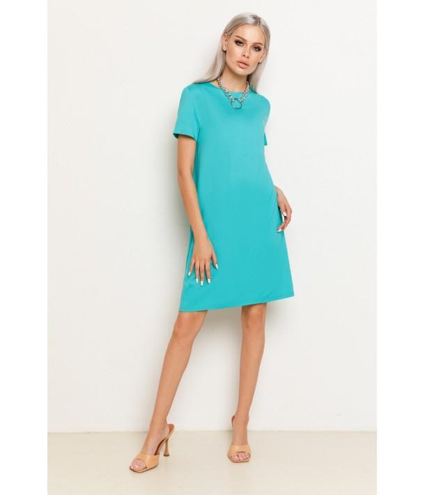 Нефритова жіноча трикотажна сукня-футболка