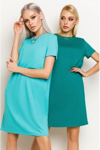 Нефритовое женское трикотажное платье-футболка