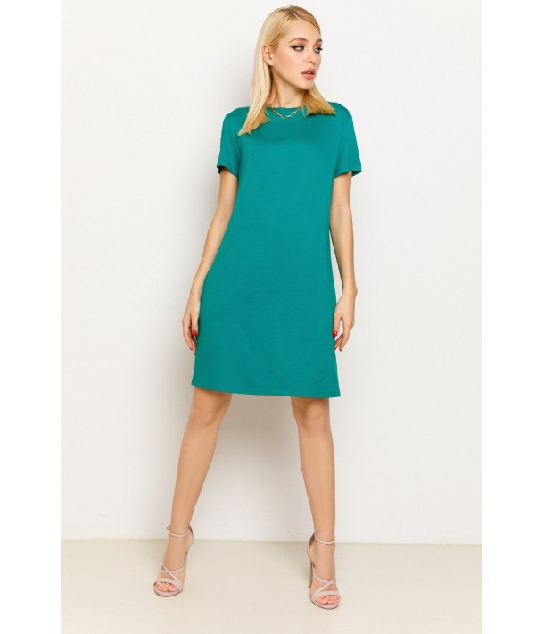 Смарагдова жіноча трикотажна сукня-футболка
