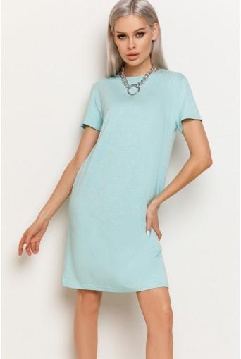 Мятное женское трикотажное платье-футболка меланжевая