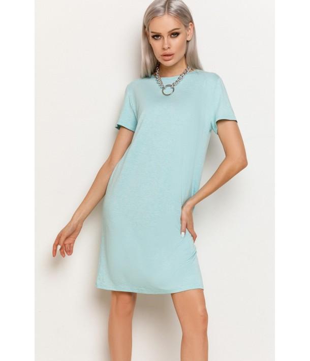 М'ятна жіноча трикотажна сукня-футболка меланжева
