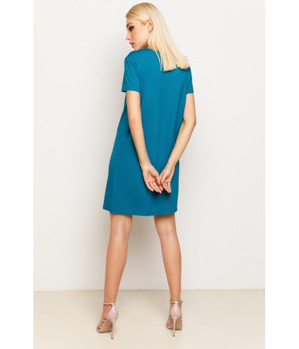 Жіноча трикотажна сукня-футболка в кольорі морська хвиля