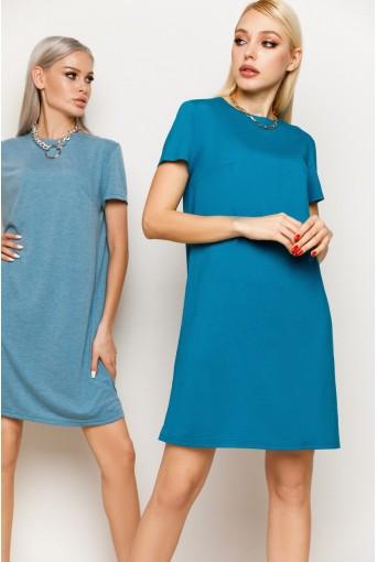 Женское трикотажное платье-футболка в цвете морская волна