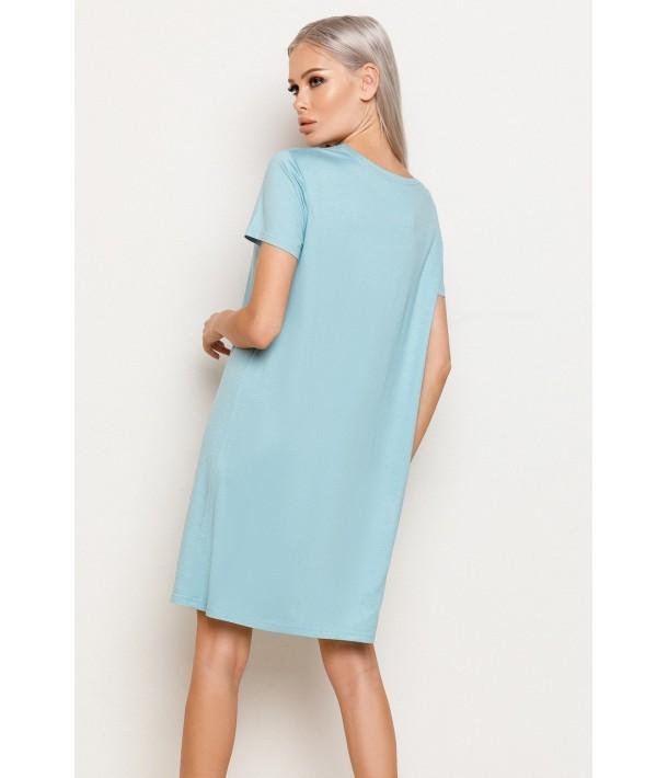 Бирюзовое трикотажное платье-футболка