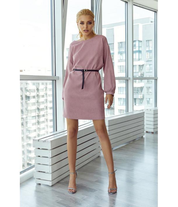 Розовое вельветовое мини платье