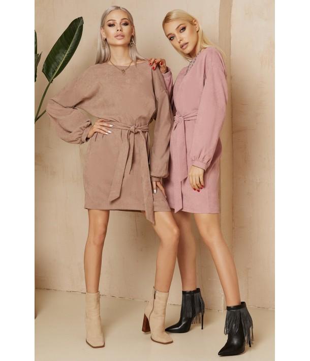 Рожева вельветова міні сукня