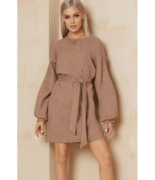 Вельветова міні сукня в кольорі моко
