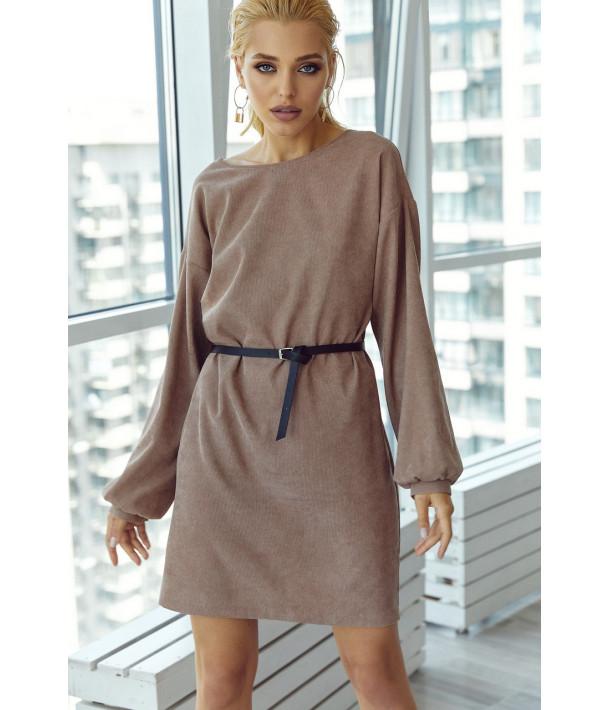 Вельветовое мини платье в цвете мокко