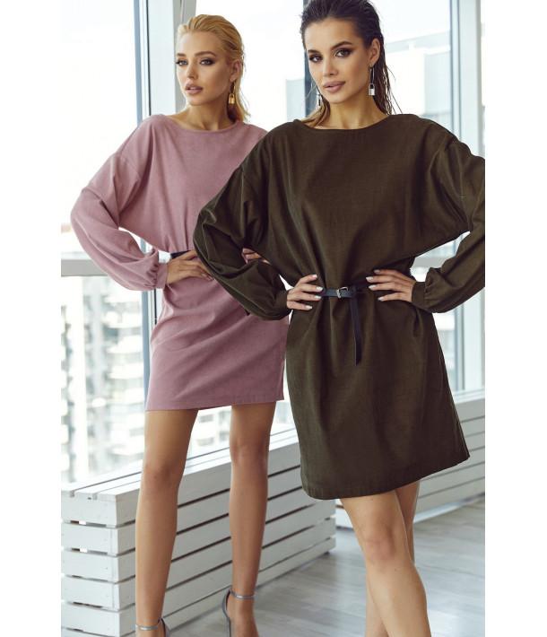 Вельветова міні сукня в кольорі хакі