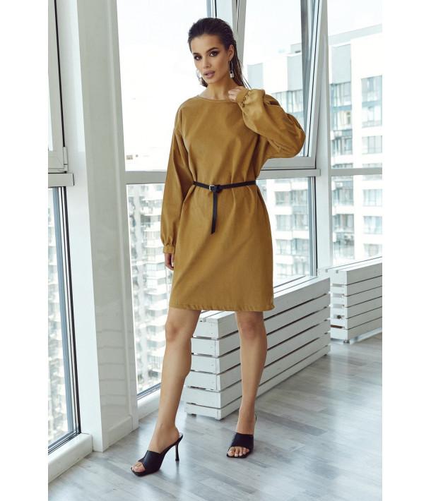 Вельветова міні сукня в кольорі кемел
