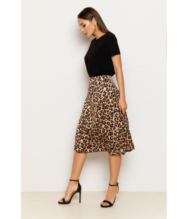 Шелковая юбка миди в леопардовый принт