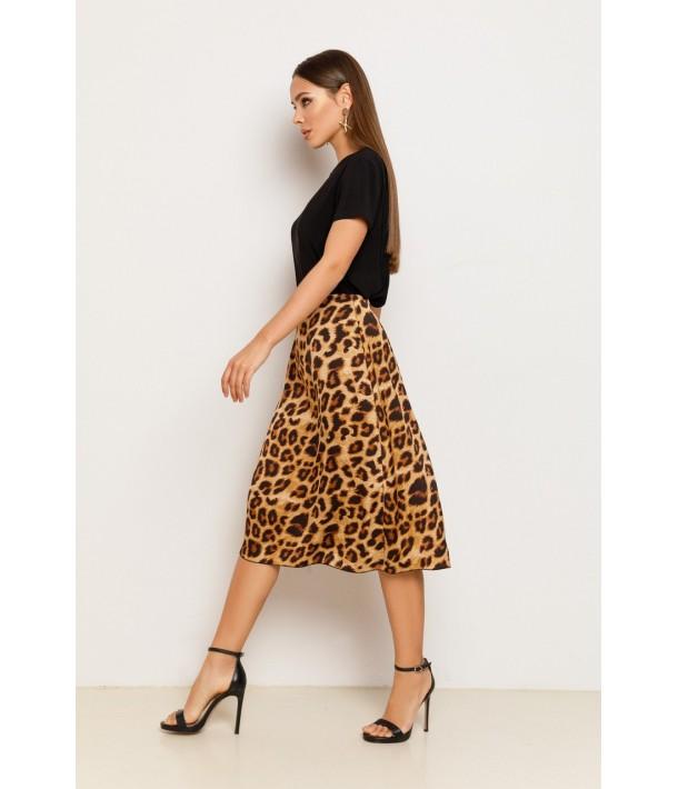 Шелковая юбка миди в крупный леопардовый принт