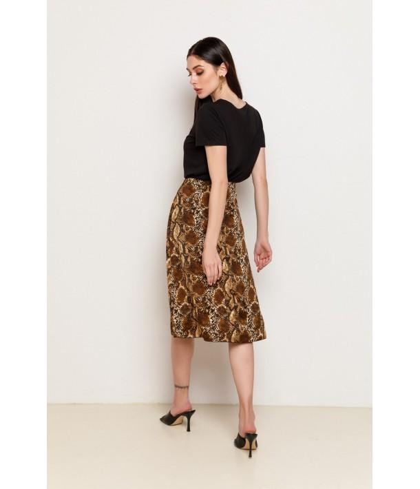 Шелковая юбка миди с принтом рептилии