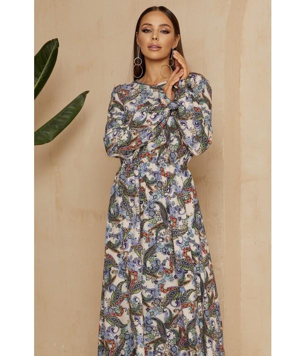 Платье макси с принтом турецкий огурец