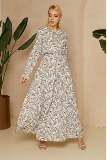 Молочное платье макси с принтом аиста