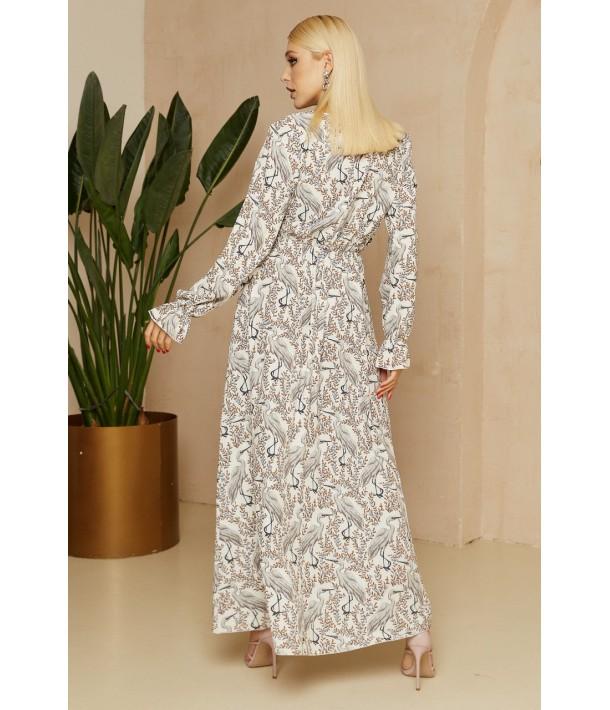 Молочна сукня максі з принтом лелеки