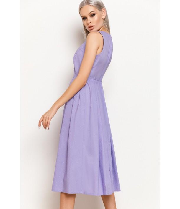 Лавандовое платье в полоску с юбкой в складку
