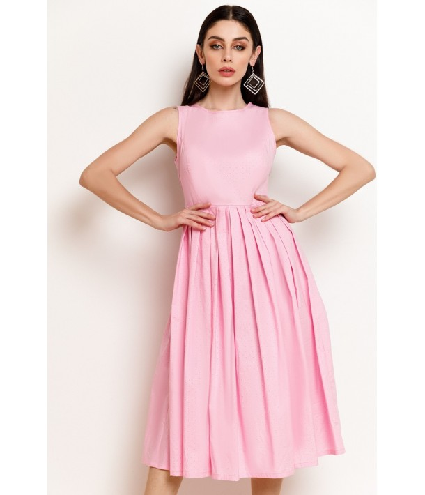 Рожева сукня в смужки зі спідницею в складку