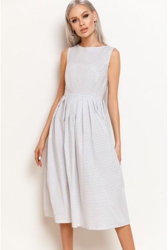 Молочное платье в звездочку с юбкой в складку