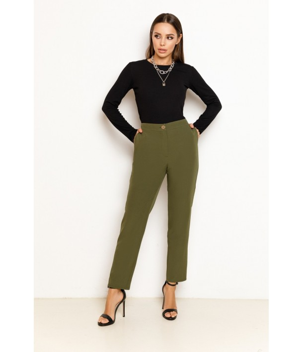 Оливкові жіночі прямі брюки
