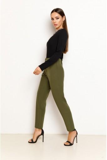Оливковые женские прямые брюки