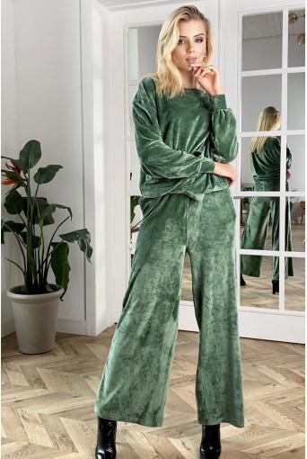 Травяной плюшевый костюм двойка: брюки и свитшот