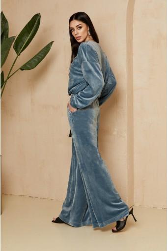 Плюшевий костюм світшот та брюки морська хвиля