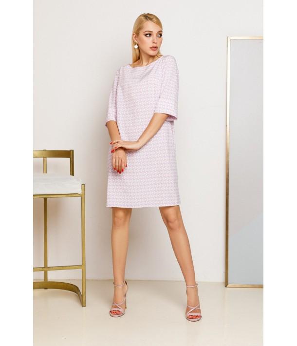 Лавандова сукня-трапеція з принтом в молочні кола