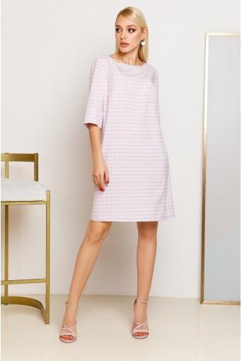 Лавандовое платье-трапеция с принтом молочные круги
