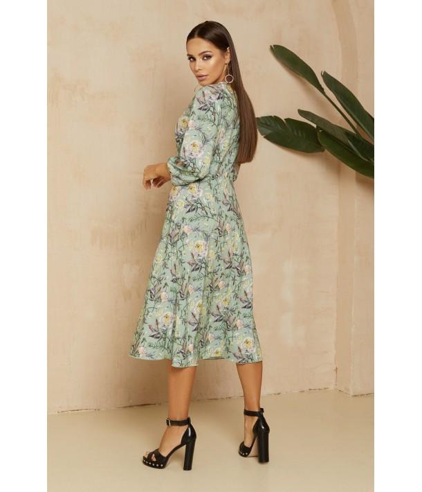 М'ятна сукня міді з квітковим принтом
