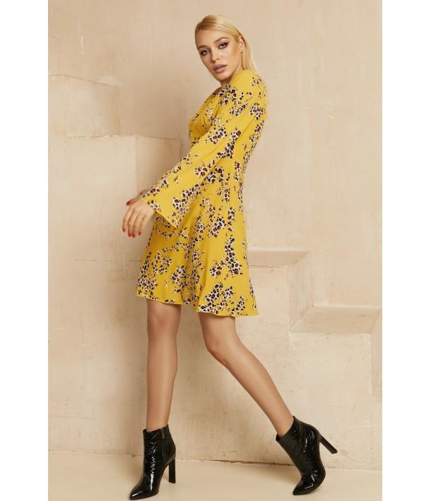 Мини платье с леопардовым принтом горчичного цвета