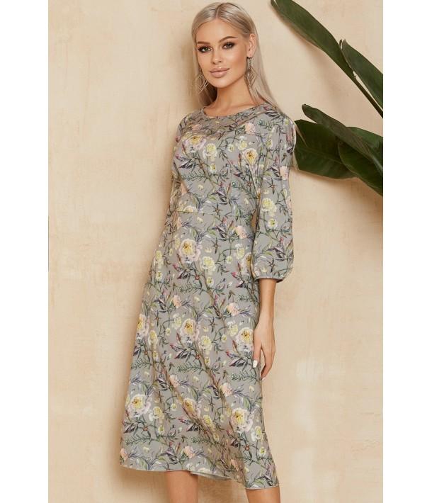 Сіра сукня міді з квітковим принтом