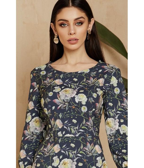 Темно-синее платье миди с цветочным принтом