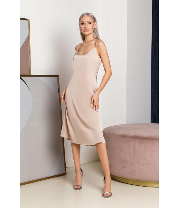 Шовкова сукня-комбінація міді пісочна