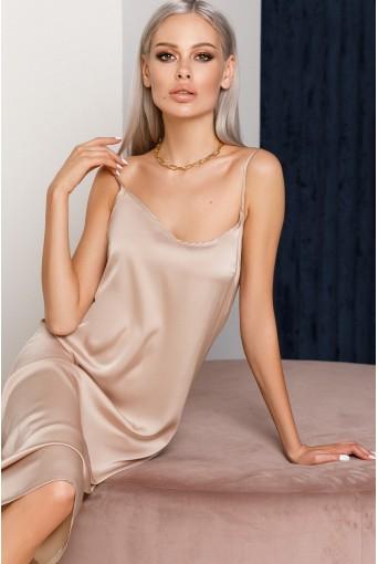 Шелковое платье-комбинация миди песочное
